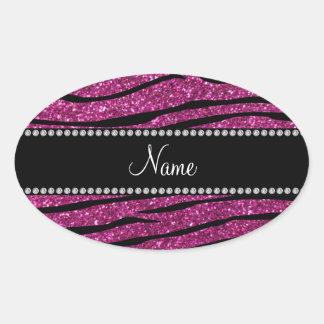 Personalice las rayas rosadas conocidas de la cebr pegatina ovalada