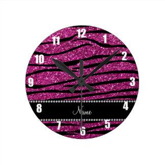 Personalice las rayas rosadas conocidas de la cebr reloj de pared