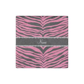 Personalice las rayas rosadas conocidas del tigre imán de piedra