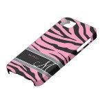Personalice las rayas rosadas y negras del chicle  iPhone 5 Case-Mate coberturas
