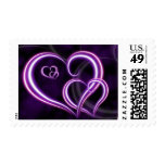 Personalice los corazones púrpuras elegantes sello