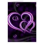 Personalice los corazones púrpuras elegantes tarjetas