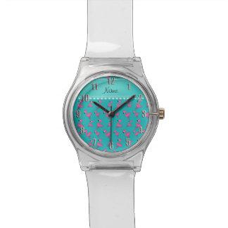 Personalice los flamencos conocidos del rosa de la relojes de mano