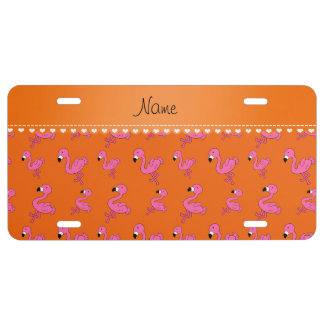 Personalice los flamencos rosados anaranjados placa de matrícula