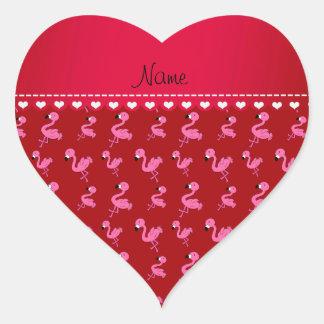 Personalice los flamencos rosados rojos conocidos pegatina en forma de corazón