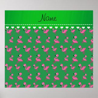 Personalice los flamencos rosados verdes conocidos póster