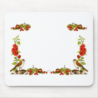 Personalice: Marco de la naturaleza: Pájaros, flor Tapetes De Ratones