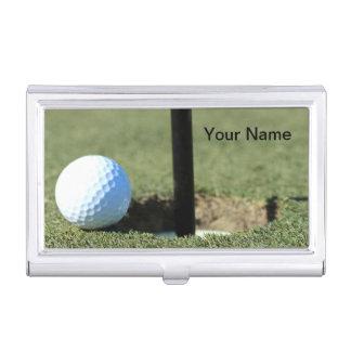 (Personalice) pelota de golf y foto de la taza Caja De Tarjetas De Visita