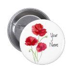 Personalice - personalizado - las amapolas rojas - pins