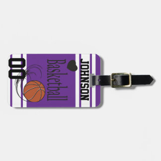 Personalice púrpura del baloncesto y blanco etiquetas para maletas