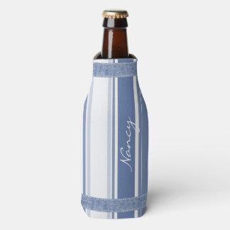 Personalice: Rayas azules y blancas clásicas Enfriador De Botellas
