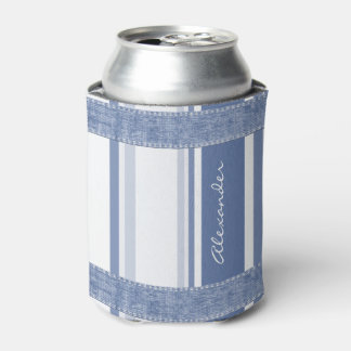 Personalice: Rayas azules y blancas clásicas Enfriador De Latas