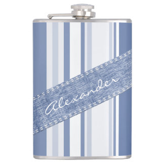 Personalice: Rayas azules y blancas clásicas Petaca