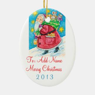 Personalice Santa con el ornamento del navidad de Adorno Navideño Ovalado De Cerámica