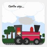 Personalice su tren (rojo) pegatina cuadradas personalizada
