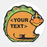 Personalice un dinosaurio, <YOUR TEXT> Etiquetas Redondas
