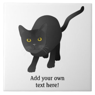 Personalice un gato negro lindo azulejo cuadrado grande