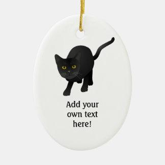 Personalice un gato negro lindo adorno ovalado de cerámica
