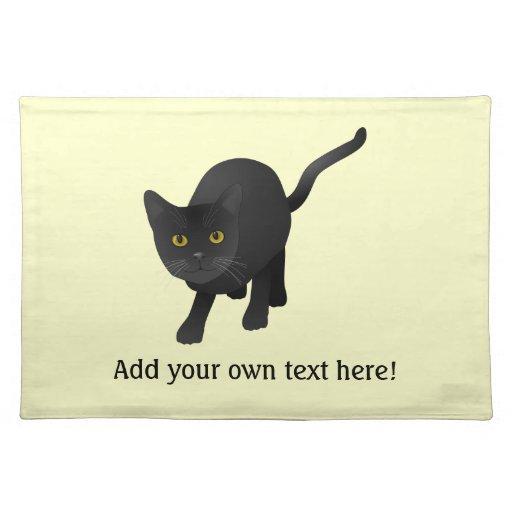 Personalice un gato negro lindo mantel individual