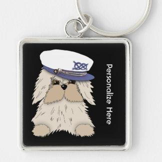 Personalice un perrito náutico en Hat de capitán Llavero Cuadrado Plateado