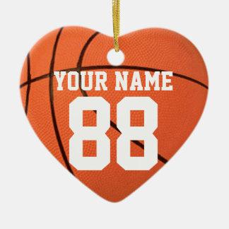 Personalícelo, baloncesto adorno navideño de cerámica en forma de corazón