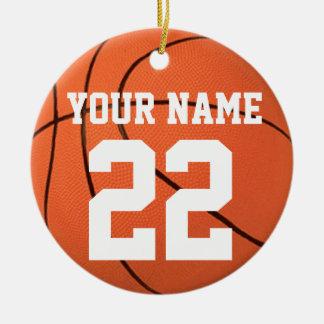 Personalícelo, baloncesto adorno navideño redondo de cerámica