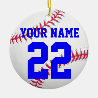 Personalícelo, béisbol adorno navideño redondo de cerámica