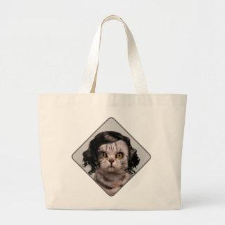 Personalidad de la muñeca del gato de un tote del bolsa de tela grande