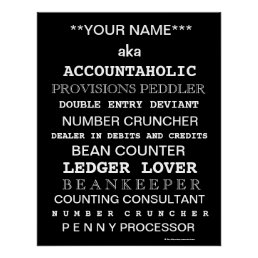 Personalisable Accountant Funny Job Titles Poster