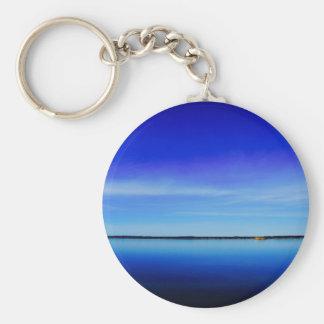 Personalise blue sky blue ocean photograph keychain