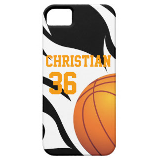 Personalise Flaming Basketball B/W iPhone SE/5/5s Case