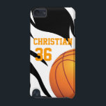 "Personalise Flaming Basketball B/W iPod Touch (5th Generation) Cover<br><div class=""desc"">Show your pride for your basketball team with this flaming basketball design featuring a basketball with white flames on a black background. Perfect for basketball fans or players. Add a name and number to create a unique gift for any lover of basketball. sgb01</div>"