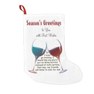 Personalise Fun Wine Saying Christmas Stocking Small Christmas Stocking