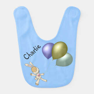 Personalise Teddy and Balloons Baby Bib