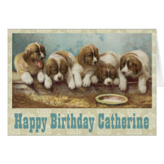 Personalise this Vintage Puppies Birthday card