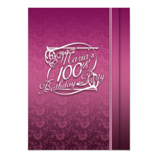 Personalised 100th Birthday Inviations 5x7 Paper Invitation Card