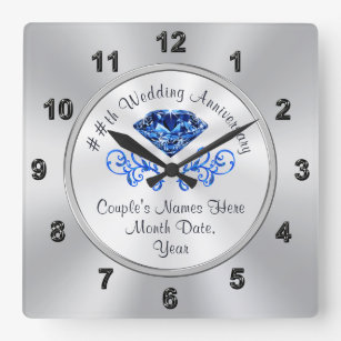 Personalised 45th Wedding Anniversary Gift Ideas Square Wall Clock