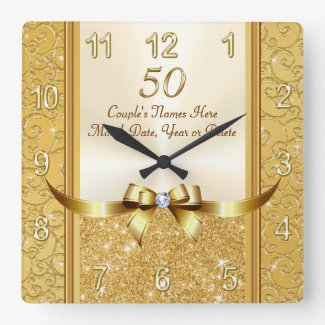Personalised 50th Wedding Anniversary Gifts, Clock