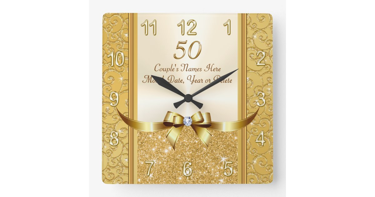 Personalised 50th Wedding Anniversary Gifts: Personalised 50th Wedding Anniversary Gifts, Clock