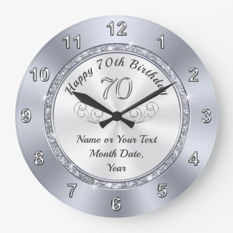 Personalised 70th Birthday Presents for Her Large Clock