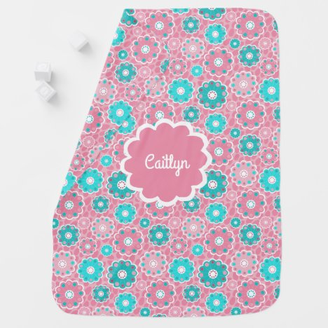Personalised aqua and pink baby girl swaddle blanket