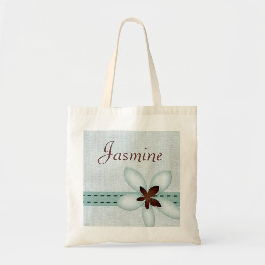 Personalised Bag - Blue ribbon and flower