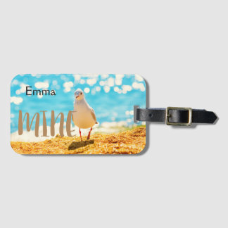 Personalised beach blue with  seagull luggage tag