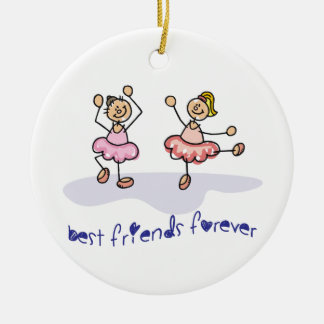 PERSONALISED BEST FRIENDS FOREVER DANCING GIRLS Double-Sided CERAMIC ROUND CHRISTMAS ORNAMENT