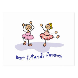 PERSONALISED BEST FRIENDS FOREVER DANCING GIRLS POSTCARD