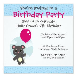 Personalised Birthday Invitation - Balloon Bear