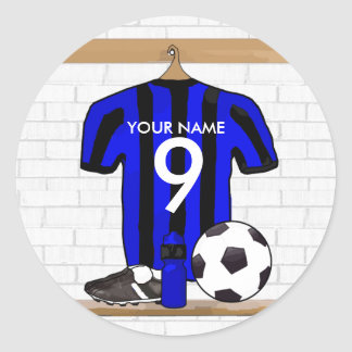 Personalised Black and Blue Football Soccer Jersey Classic Round Sticker