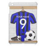 Personalised Black and blue football soccer Jersey Cover For The iPad Mini