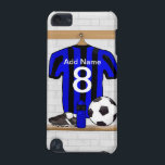 "Personalised Black and blue football soccer Jersey iPod Touch (5th Generation) Cover<br><div class=""desc"">Personalised Blue and Black striped football soccer shirt,  just add your own name and number to create a unique soccer gift or award. If you require this striped soccer jersey in any other color combination ,  please contact us through the store contact link</div>"