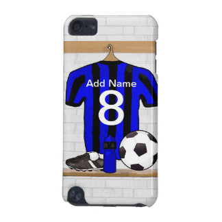 Personalised Black and blue football soccer Jersey iPod Touch (5th Generation) Cover